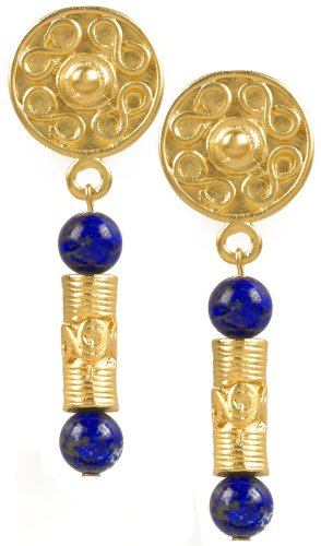 (Reproduction of the Pre Columbian Tolima Roller Seal Earrings, From Our Museum Store)