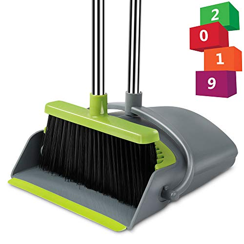 Been5le Extendable Broom and Dustpan Set, Self-Cleaning with Dust Pan Teeth, Long Handle Broom and Dustpan Combo, Upright Broom Set for Home Kitchen Room Office Lobby Floor Use (Gray &Green)