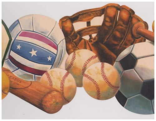 Baseball Basketball Tennis Soccer Ball Basket Glove Bat Sports Wallpaper Border Retro Design, Roll 15