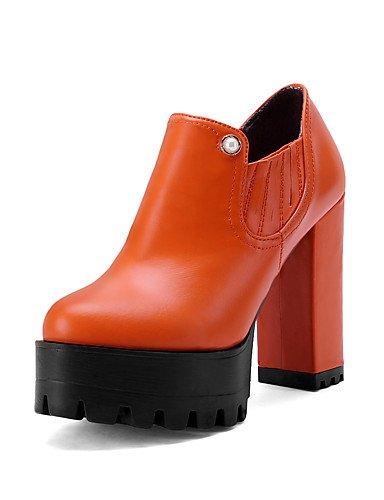 GGX/ Damen-High Heels-Outddor / Büro / Lässig-Kunstleder-Blockabsatz-Absätze / Plateau / Rundeschuh-Schwarz / Rot / Orange red-us6.5-7 / eu37 / uk4.5-5 / cn37