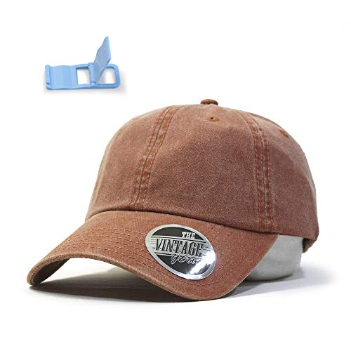 (Vintage Washed Cotton Adjustable Baseball Cap (Orange))