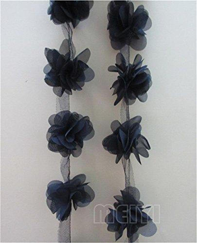 5 Yard 3D Chiffon Flower Cluster Lace Edge Trim Ribbon 2