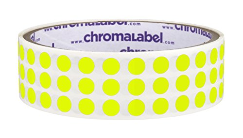 ChromaLabel 1/4 inch Color-Code Dot Labels | 1,000/Roll (Fluorescent Yellow) ()