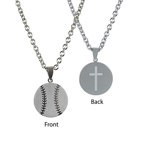 Dicksons Baseball Player Pendant 24 inch Men's Stainless Steel Necklace