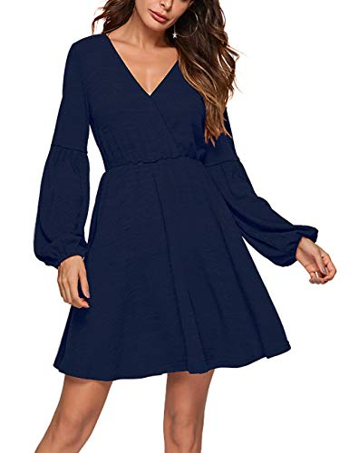 Lin's Womens Long Sleeve Casual Faux Wrap Swing Flare Dresses with Pockets Blue