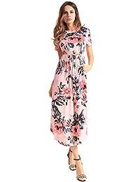 Ruiyige Women's Floral Print Boho Vintage Retro Party Long Maxi Dress