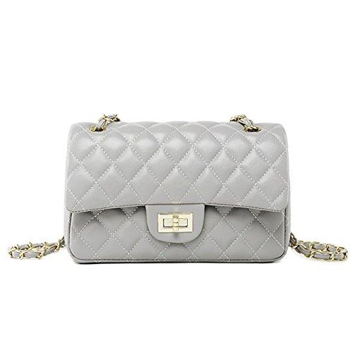 Grey Leather Handbags - 8