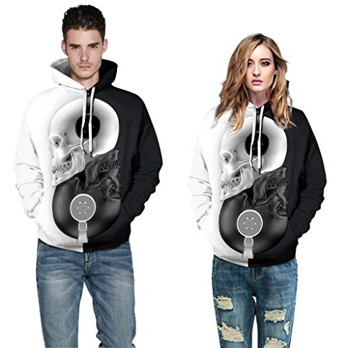 FEDULK Women Men 3D Digital Print Hoodies Hooded Sweatshirt Halloween Costume Pullover Tops with Pockets(Black2, Medium)