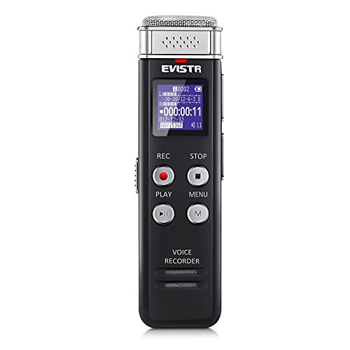 EVISTR 8GB Digital Voice Recorder Voice Activated Recorder with Playback - 2018 Upgraded Small Tape Recorder for Lectures, Meetings, Interviews, Mini Audio Recorder USB Charge, MP3 by EVISTR
