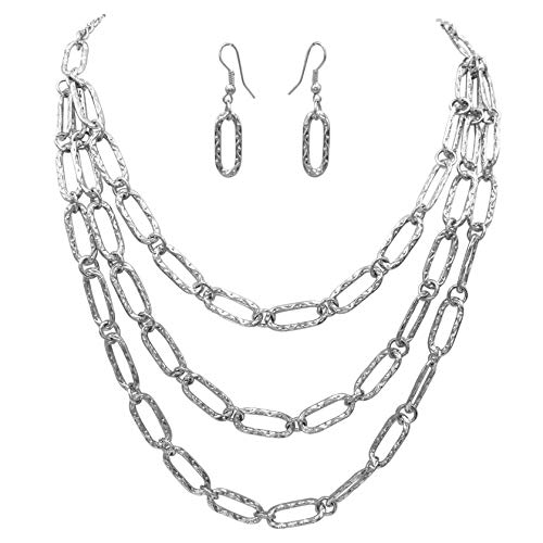Gypsy Jewels Layered Chain Statement Silver Tone Boutique Necklace & Earrings Set (3 Row Oval Link)