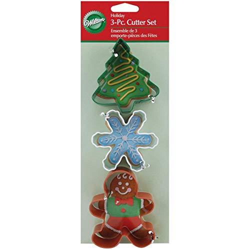 Wilton Christmas Cookie Cutter - Gingerbread Man Snowflake & Tree (3 Piece Set) (Metal White Snowflakes)