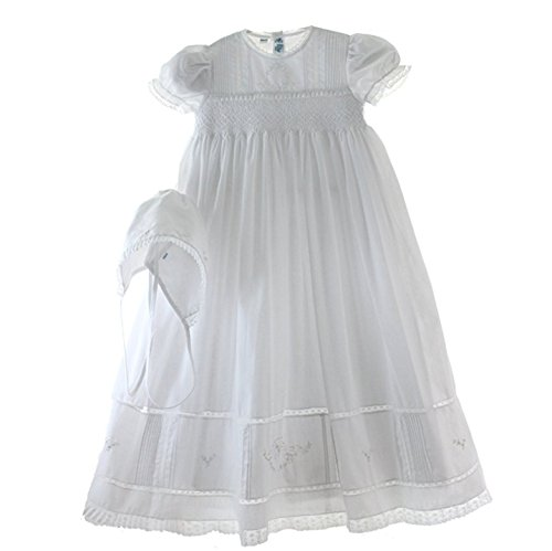 Feltman Brothers Christening - Feltman Brothers Girls White Smocked Christening Baptism Gown Bonnet Set with Pearls (NB-3M)