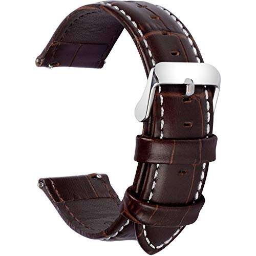 - Fullmosa 7 Colors for Quick Release Leather Watch Band, Bamboo Series Genuine Leather Replacement Watch Strap with Stainless Metal Clasp 22mm Dark Brown