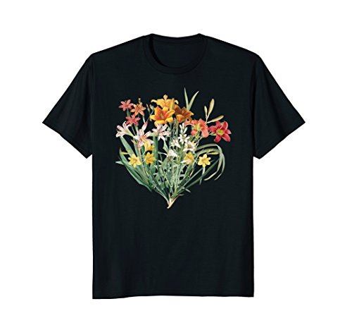 Variety of Lillies Graphic Flower Print Flowered T-Shirt ()