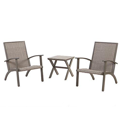 Grand patio Shakopee 3-Piece All Weather Rattan Wicker Outdoor Conversation Set - Grey by Grand patio