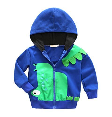 Qinni-shop Baby Toddler Little Boys Kids Dinosaur Print Hoodie Fashion Zip Sweatshirt Pullover
