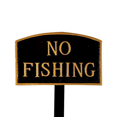 Montague Metal Products SP-25sm-BG-LS Small Black and Gold No Fishing Arch Statement Plaque with 23-Inch Lawn Stake by Montague Metal Products