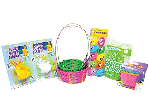 (Easter Basket Kit includes Colorful Easter Baskets, Fun Easter Toys, Easter Grass, Easter Egg Dye, Cute Easter)