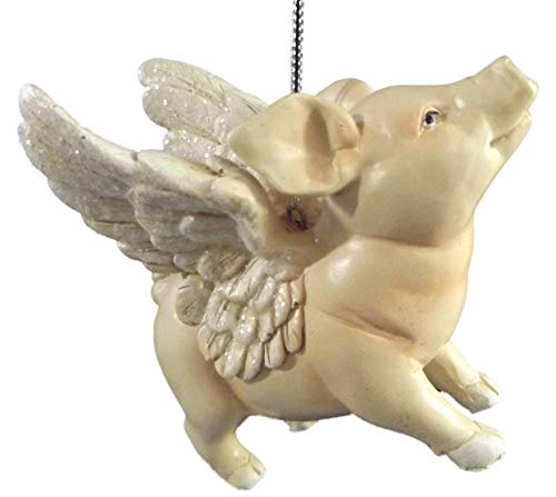 On Holiday Flying Pig with All Legs Down Christmas Tree Ornament
