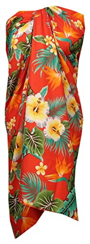 - Sarong 46 Flower Leaf Beach Swimsuit Wrap Plus Size Cover up Pareo Red