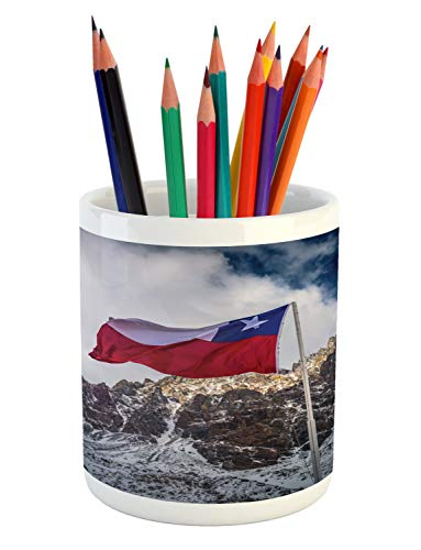 - Lunarable Argentina Pencil Pen Holder, Snowy Mountain View and Chilean Flag in The Border Between Argentina and Chile, Printed Ceramic Pencil Pen Holder for Desk Office Accessory, Multicolor