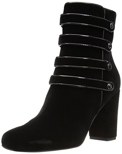 The Fix Women's Sadie Military-Inspired Four-Strap Ankle Boot With Jewel Buttons , Black, 6 B US