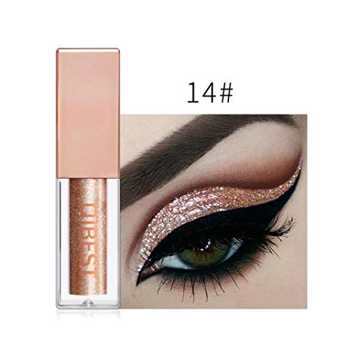 Glitter Eyeshadow Liquid Shiny Shimmer Metallic Shiny Waterproof Long-lasting Eyeliner 15 Colors Eyeshadow Liquid (N) ()