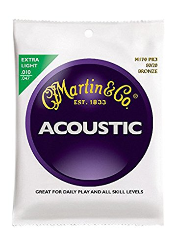 Martin M170 80/20 Acoustic Guitar Strings, Extra Light 3 (Martin Acoustic Guitar Strings)