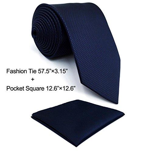 Shlax&Wing Neckties Solid Blue Navy Silk Ties for Men Silk Navy