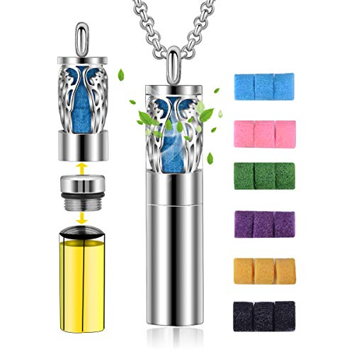 CELESTIA Diffuser Necklace for Women, Aromatherapy Essential Oil Pendant Angel Wing Pattern Lockets Necklace with Container 2-in-1 Stainless Steel Jewelry + 18 Pads + 24 in Chain