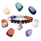 QGEM Chakra Stones Set with 7 Chakra Bracelet OM Pandant Healing Balancing Beads Set