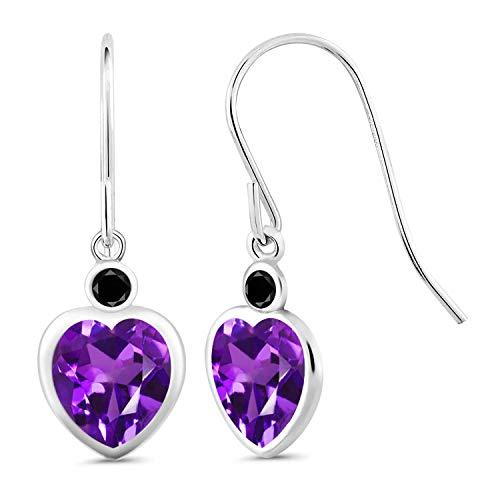 Gem Stone King 3.40 Ct Heart Shape Purple Amethyst Black Diamond 925 Sterling Silver Earrings