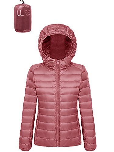 Puffer Jacket Hooded Short Light Coat Pink Women's Weight Barbella Packable Dark Down Ultra 16nROqEwg