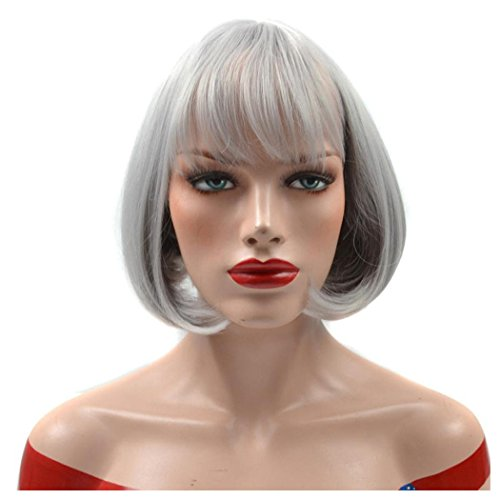 Old Lady Hair Costume (Women Short Wigs, Inkach Old Ladies Wig Female Short Hair Bangs Air Bang Bobo Head Pear Wig (A))