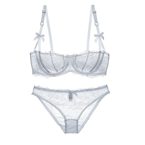 Varsbaby Women's Lumiere Lace Unlined Balconette Bra and Panty Set (V027BB, 34A, White)