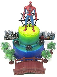 Cake Toppers Super Hero Spider Man Birthday Set Featuring Spiderman Figure And Decorative Themed Accessories