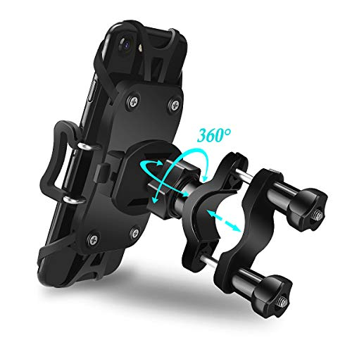 Ontseev Universal Premium Bike Phone Mount for Motorcycle, Adjustable Bicycle Handlebar Rack Bike Phone Holder Cradle Fits iPhone X, 8 | 8 Plus, 7 | 7 Plus, 6s | 6s Plus, Holds Phones Up to 3.9