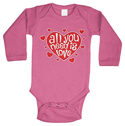 - All You Need is Love - Heart Lyrics Long Sleeve Bodysuit (Pink, 6 Months)