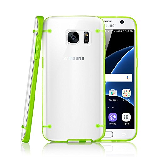 GEARONIC TM Slim Transparent Crystal Clear Hard TPU Cover Luminous Glow in the Dark Case for Samsung Galaxy S7 edge - Green (Ace 4 Lite Duos Case)