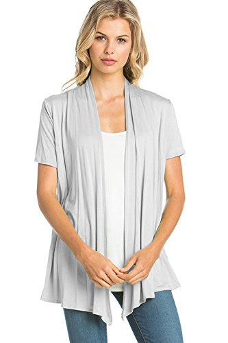 - 12 Ami Basic Solid Short Sleeve Open Front Cardigan Silver 3X