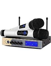 Microphone sans Fil Karaoké UHF Micro sans Fil UHF bluetooth Micro HF Professionnel 2 Micro à Main + 1 Récepteur avec 1 Câble Audio de 6,5 mm 2 Canaux pour Fête Conférence Spectacle Bar Réunion