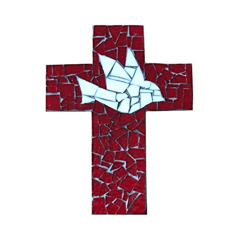 - 9 inch X 6 inch Handcrafted Mosaic Dove Wall Cross, Ivory and Red stained glass with charcoal colored grout