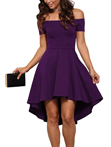 Sidefeel Women Off Shoulder Sleeve High Low Skater Dress XX-Large Purple (Dreams About Being On A Cruise Ship)