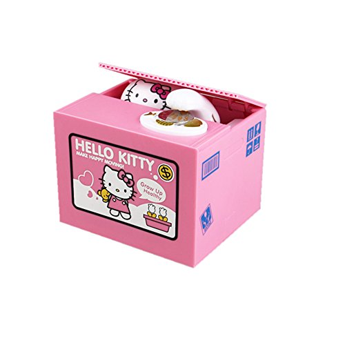 (YOURNELO Cartoon Toy Bank Automatic Stealing Music Money Box Coin Piggy Bank for Boys Girls (Hello)