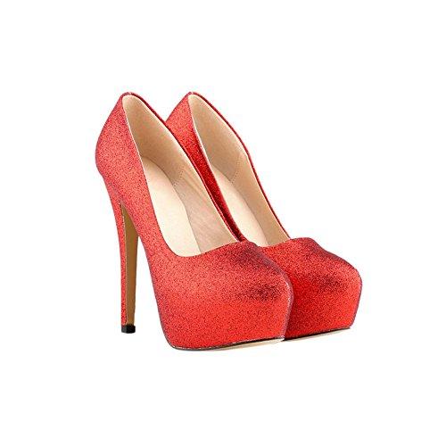Haodasi Frau Bling Party Verein 11CM Wasserdicht Super High Heels Schuhe Red