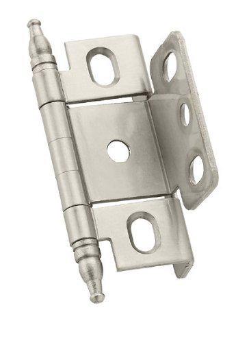 [Amerock PK3175TMG10 Full Inset, Full Wrap, Minaret Tip Hinge with 3/4in(19mm) Door Thick. - Satin Nickel] (Inset Hinge Full Wrap)