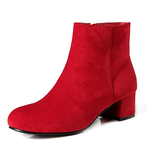 LIURUIJIA Classified Miracle Low Heel Ankle Boot - Casual Zip Up Bootie Comfortable Everyday Round Toe Ankle Bootie red-40(40/US9)