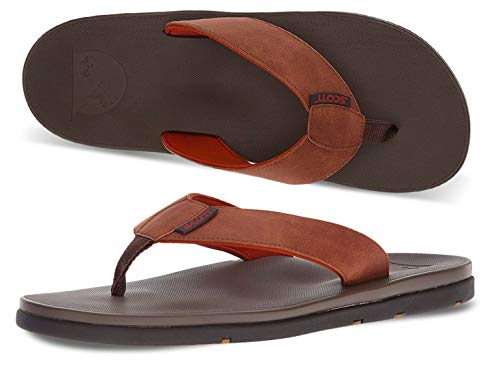 Scott Hawaii Men's Hikino Vegan Leather Sandals | Reef Walking Flip Flops for Men | Gray Brown Neoprene Comfort Waterproof Shoes | Guarantee All Day Arch Support Comfortable Slipper