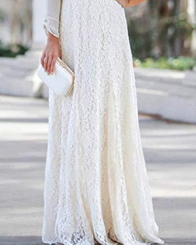 Blanc lgant Rtro Dentelle Jupe Fte Femme Taille Maxi Longue Haute Mengmiao Impression ZHgPOnwq