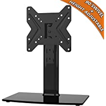 Universal Swivel TV Stand/ Base Table Top TV Stand for 19 to 39 inch TVs with 90 Degree Swivel, 4 Level Height Adjustable, Heavy Duty Tempered Glass Base, Holds up to 99lbs, HT02B-001